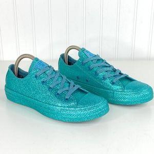 NEW Converse Blue Glitter All Star Chuck Taylors 6
